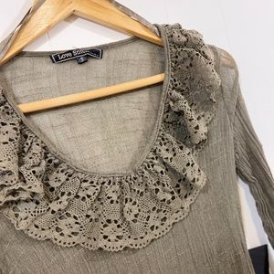 Love Stitch Olive Blouse Size: S NWT